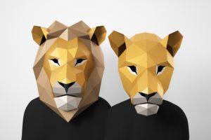 Papercraft Löwe und Löwin Maske