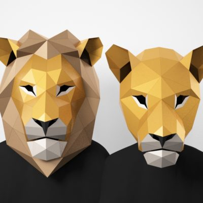 Papercraft lion and lioness mask