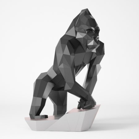 Gorilla low poly sitting on a stone for papercraft