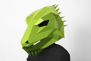 Leguan Papercraft Maske