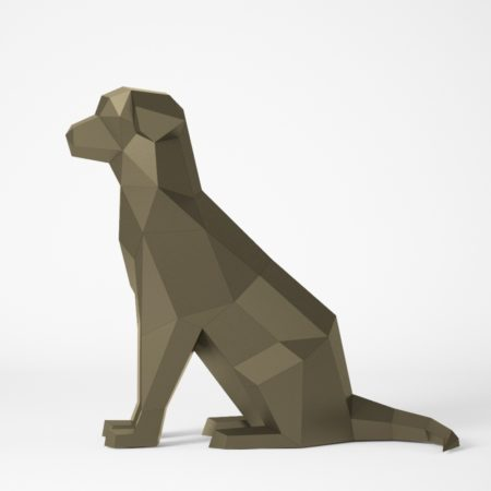 Papercraft sitting dog
