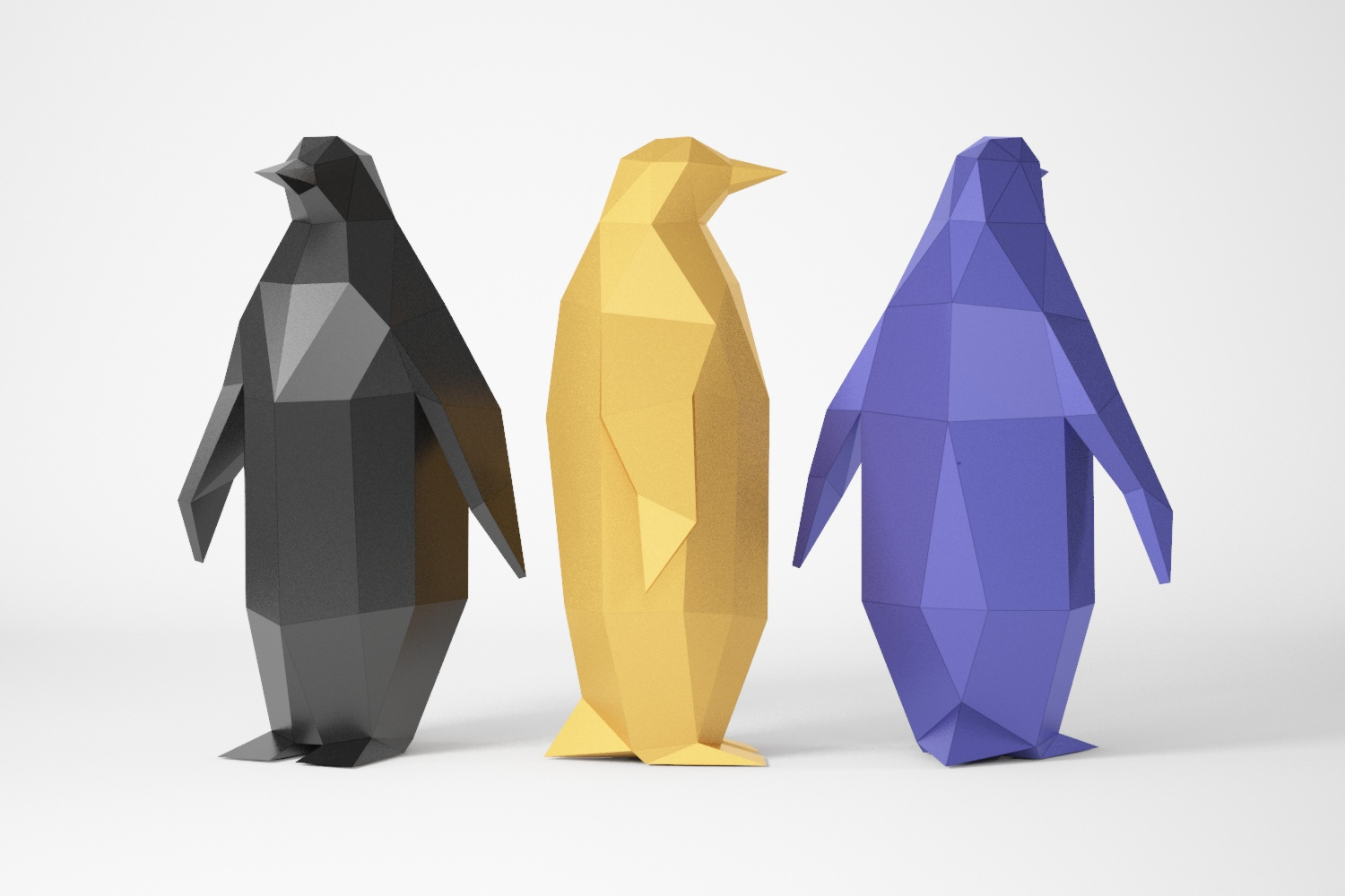 low poly penguin for papercraft